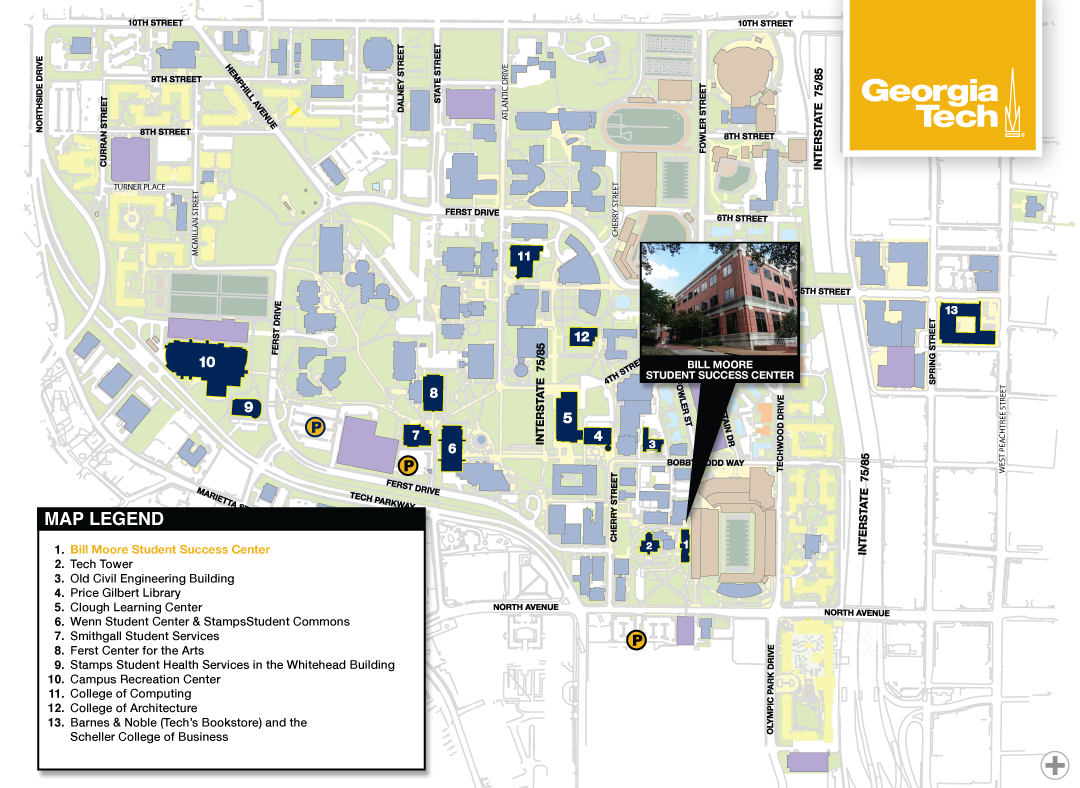 Map Of Georgia Tech Campus.The Bill Moore Student Success Center